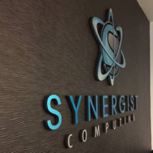 Synergist Computing Interior Chrome Standoff Sign by Sign Central, Inc.